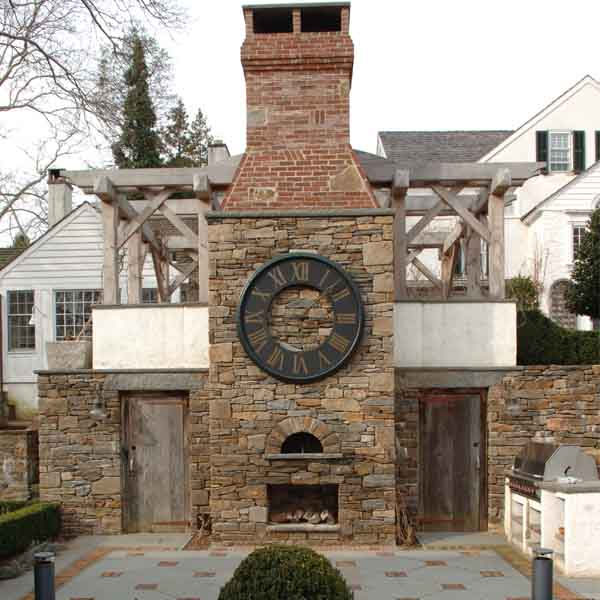 Renovated masonry structural project on building with clock